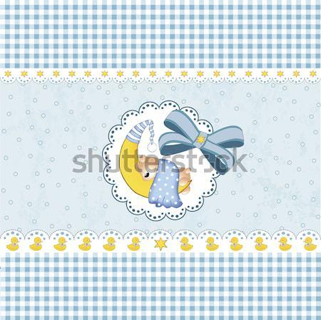 Infantile baby doccia carta cartoon leone Foto d'archivio © balasoiu