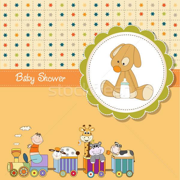 funny cartoon baby shower card Stock photo © balasoiu