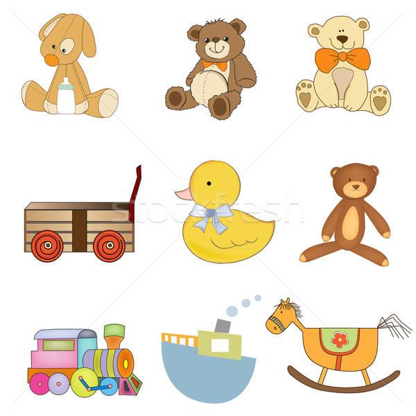 funny toys items set isolated on white background Stock photo © balasoiu