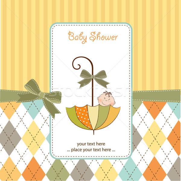 baby shower card with umbrella Stock photo © balasoiu