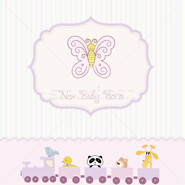 Stock photo: cute baby shower card with butterfly