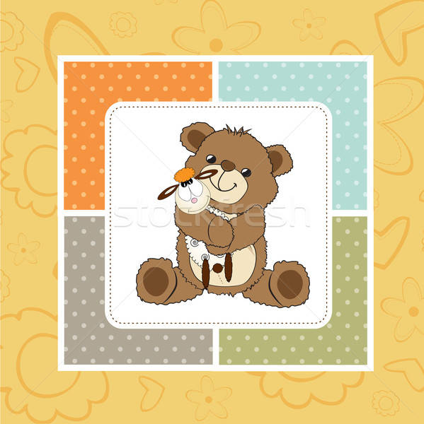 childish greeting card with teddy bear and his toy Stock photo © balasoiu