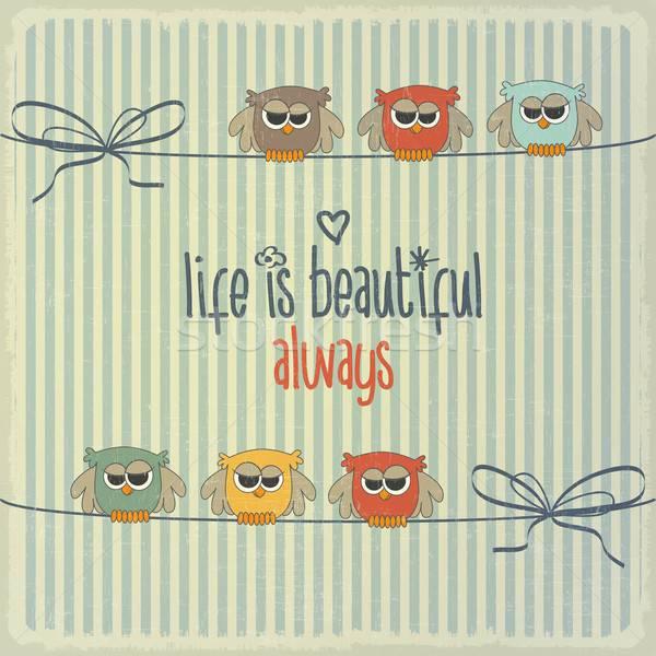 Rétro illustration heureux hiboux expression vie Photo stock © balasoiu