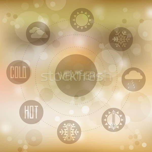セット デザイン アイコン 天気 黄色 ぼやけた ストックフォト © balasoiu