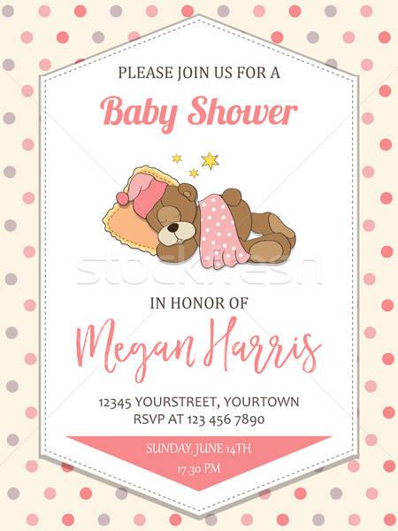 delicate baby girl  shower card with little teddy bear Stock photo © balasoiu