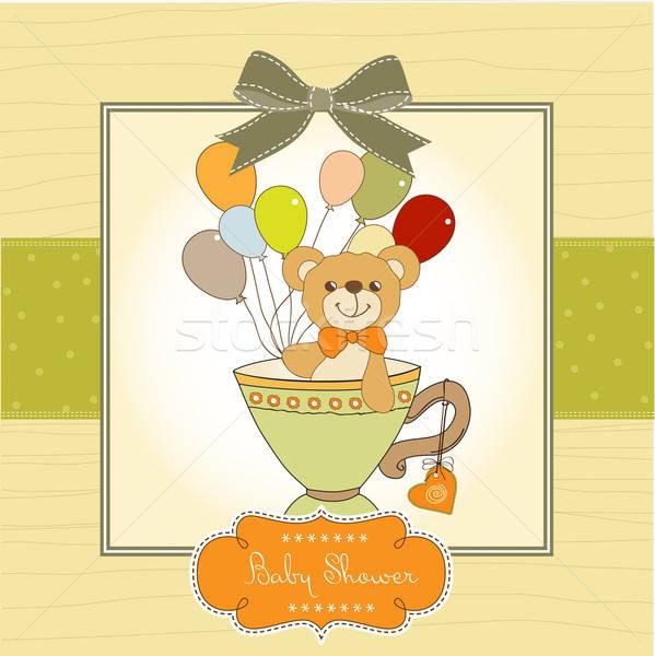 Bebek duş kart sevimli oyuncak ayı soyut Stok fotoğraf © balasoiu