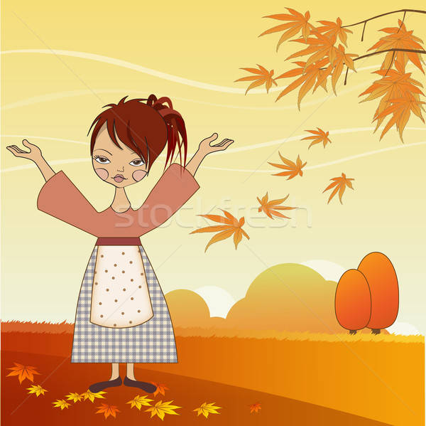 young girl with autumn leaves Stock photo © balasoiu