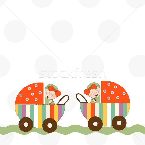 Stock photo: baby twins announcement card