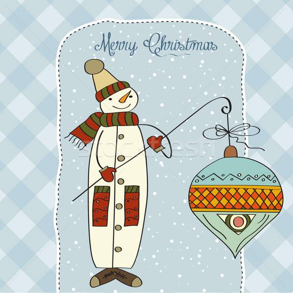 Sneeuwpop groot christmas bal ijs winter Stockfoto © balasoiu