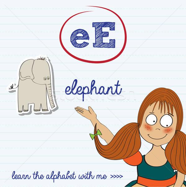 alphabet worksheet of the letter e Stock photo © balasoiu