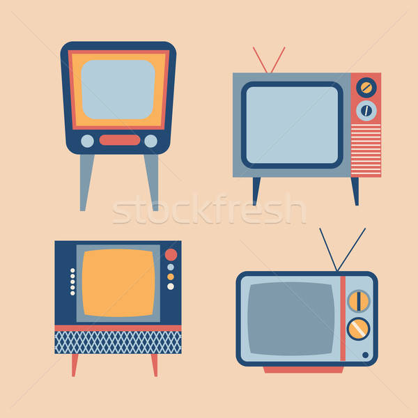 retro tv items set Stock photo © balasoiu