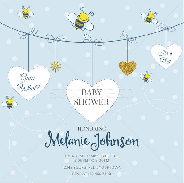 Lovely baby shower card template with golden glittering details Stock photo © balasoiu