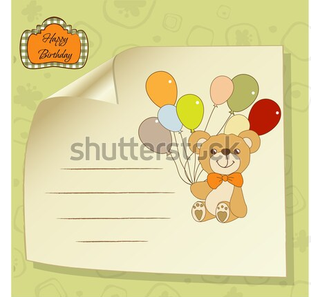 baby shower card with cute teddy bear Stock photo © balasoiu