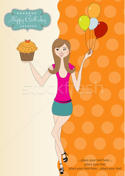 Sweet Sixteen Birthday card with young girl Stock photo © balasoiu