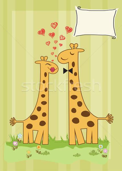 Grappig giraffe paar liefde gelukkig groene Stockfoto © balasoiu