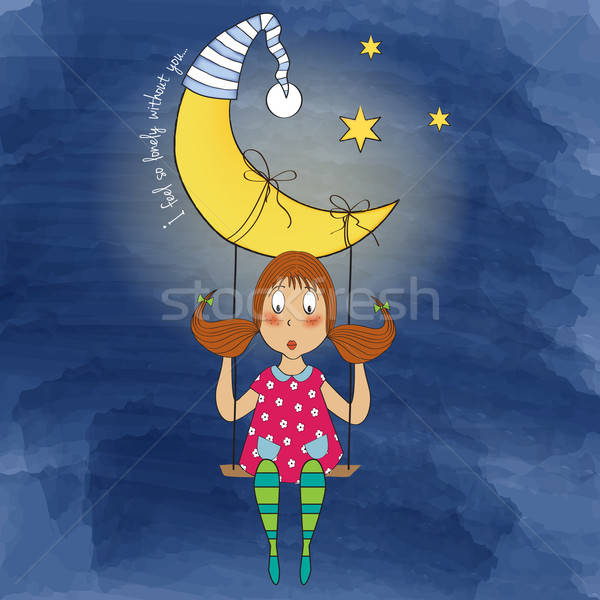 Nostalgisch jong meisje swing opknoping maan vector Stockfoto © balasoiu