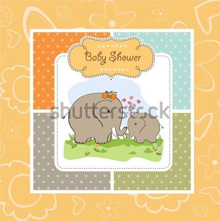 baby twins shower card with teddy Stock photo © balasoiu