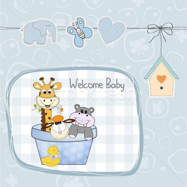 Stok fotoğraf: Bebek · erkek · duş · kart · oyuncaklar · örnek