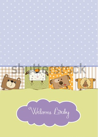 new baby announcement card with bag and same toys Stock photo © balasoiu