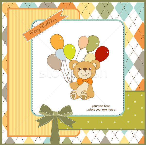 Bebek duş kart sevimli oyuncak ayı doğum günü Stok fotoğraf © balasoiu