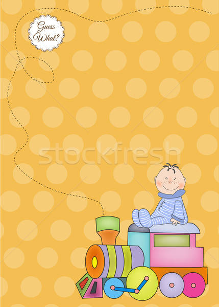 customizable birthday greeting card with train Stock photo © balasoiu