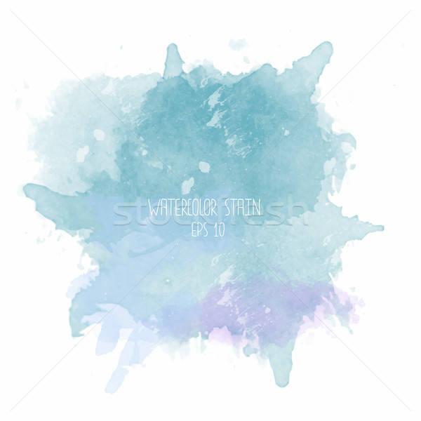Blue watercolor stain on white background Stock photo © balasoiu