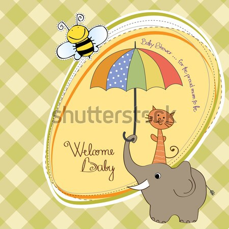 Yeni bebek duyuru kart doğum günü arka plan Stok fotoğraf © balasoiu