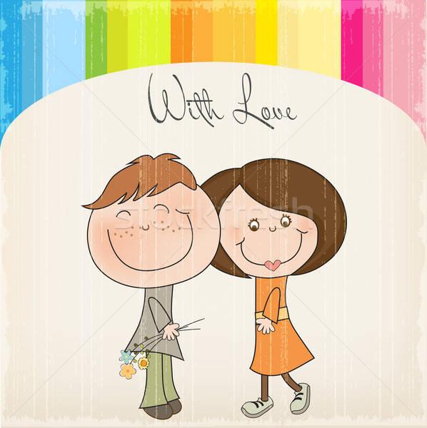 Mutlu aşıklar çift kadın çiçek sanat Stok fotoğraf © balasoiu