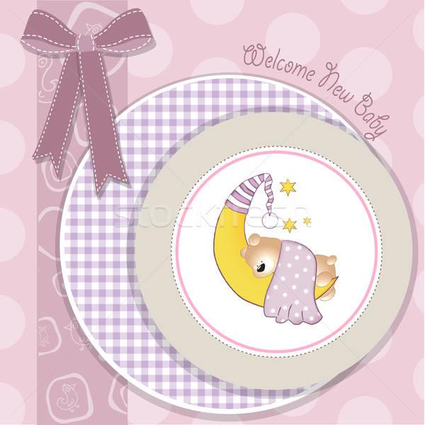 delicate baby announcement card Stock photo © balasoiu