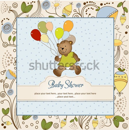 new baby girl announcement card with cow Stock photo © balasoiu
