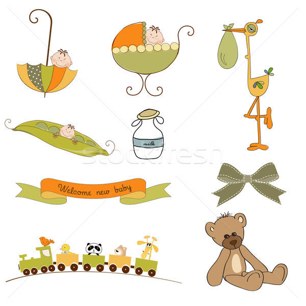 new baby items set isolated on white background Stock photo © balasoiu