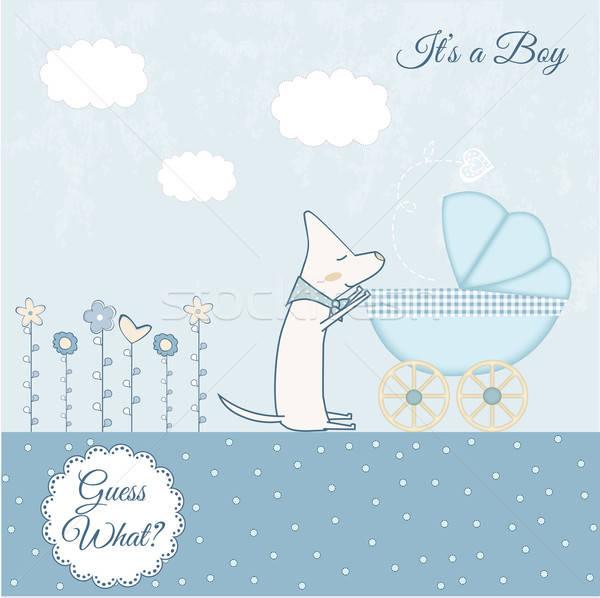 Baby chłopca zapowiedź chmury szczęśliwy urodziny Zdjęcia stock © balasoiu