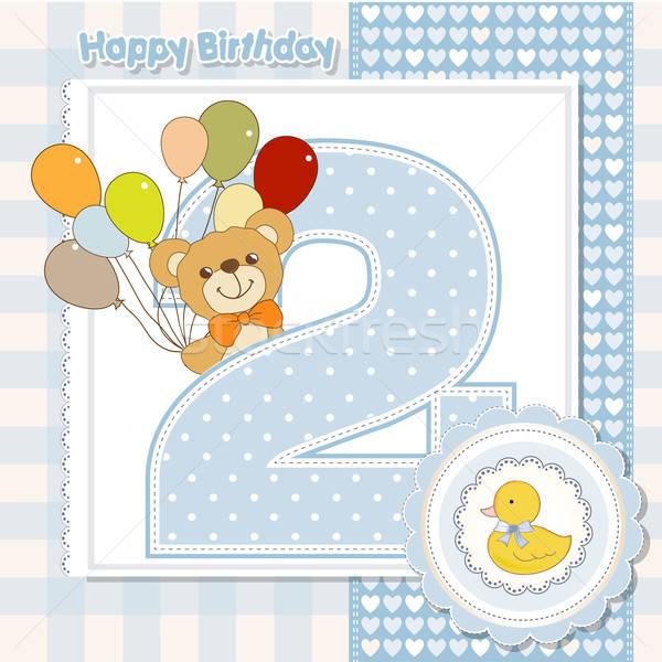 Második évforduló kártya születésnap háló levél Stock fotó © balasoiu