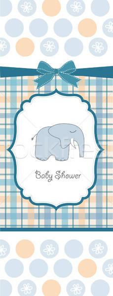 Stock fotó: új · baba · fiú · közlemény · kártya · elefánt