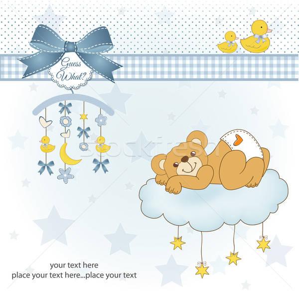 Bebek duş kart uykulu oyuncak ayı mutlu Stok fotoğraf © balasoiu
