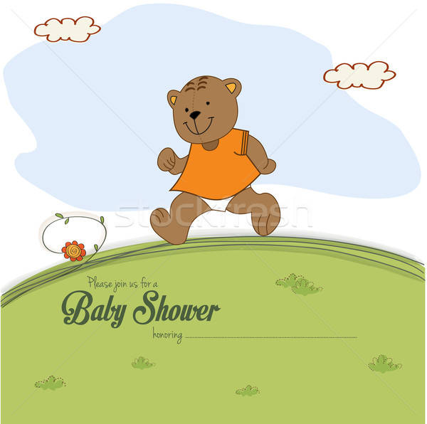 baby shower card with teddy bear chasing rushed to event Stock photo © balasoiu