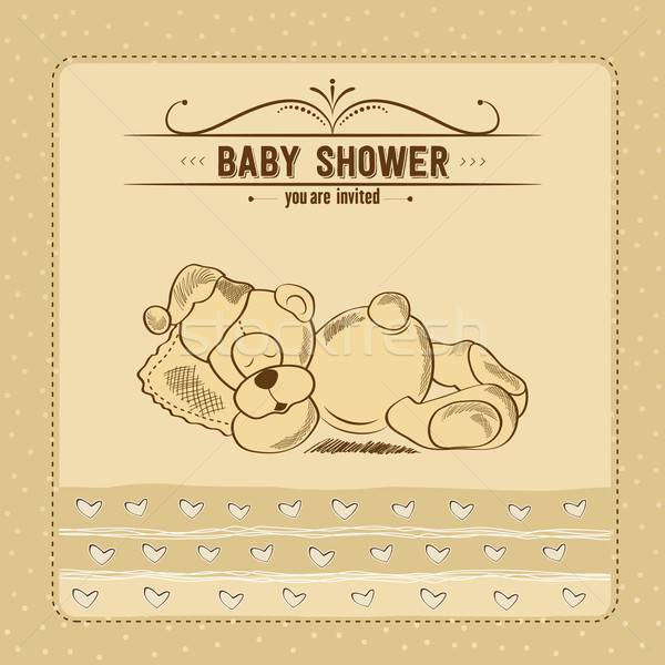 baby shower card with retro toy Stock photo © balasoiu