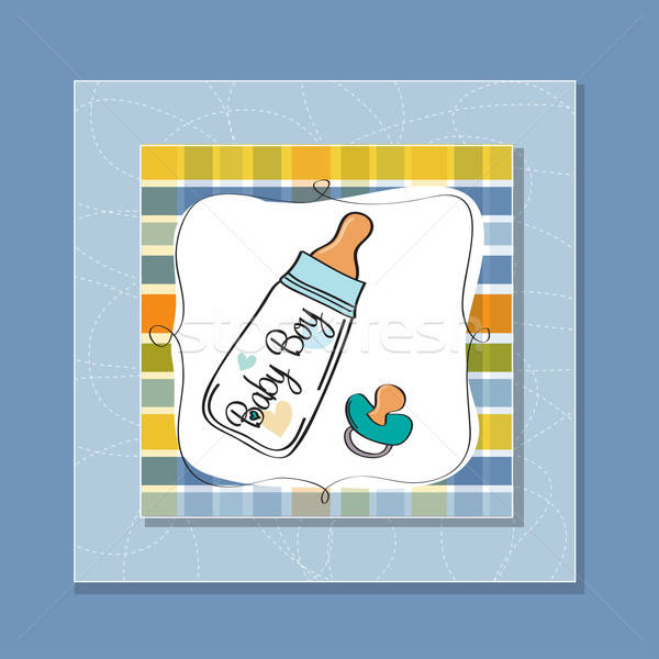 Baby aankondiging kaart melk fles fopspeen Stockfoto © balasoiu