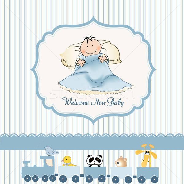 Foto stock: Bem-vindo · novo · bebê · menino · projeto · fundo