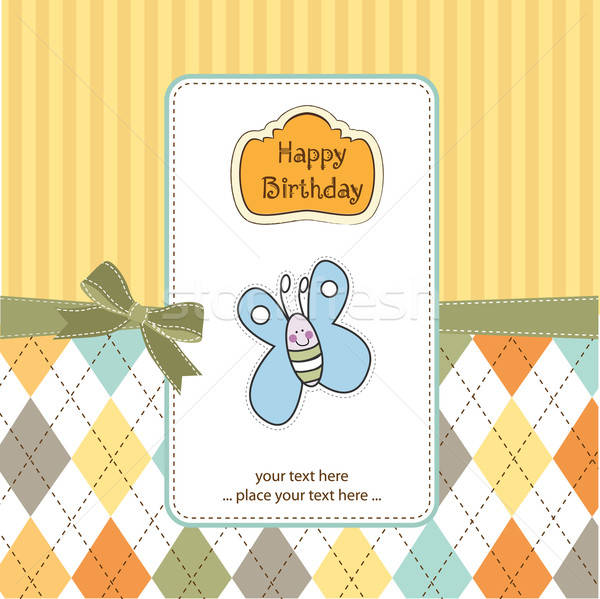 cute baby shower card with butterfly Stock photo © balasoiu