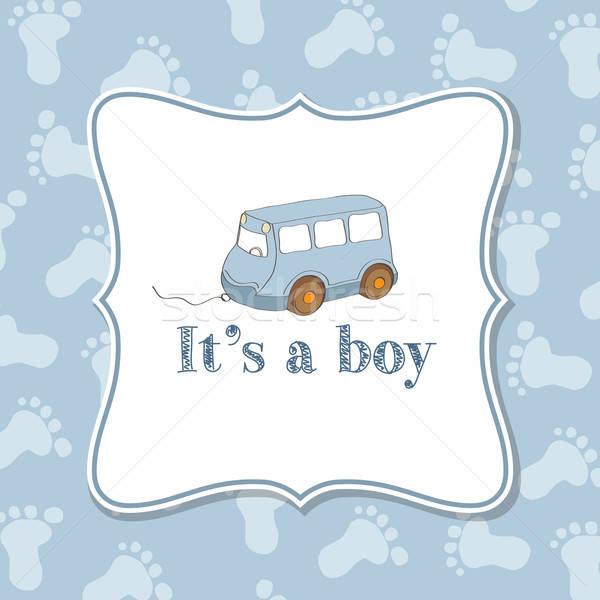 Baby jongen uitnodiging douche vector formaat Stockfoto © balasoiu