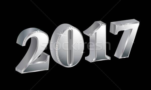 Luxe happy new year noir fond calendrier star Photo stock © balasoiu