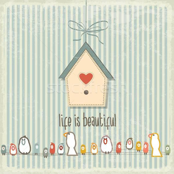 Rétro illustration heureux oiseaux expression vie Photo stock © balasoiu