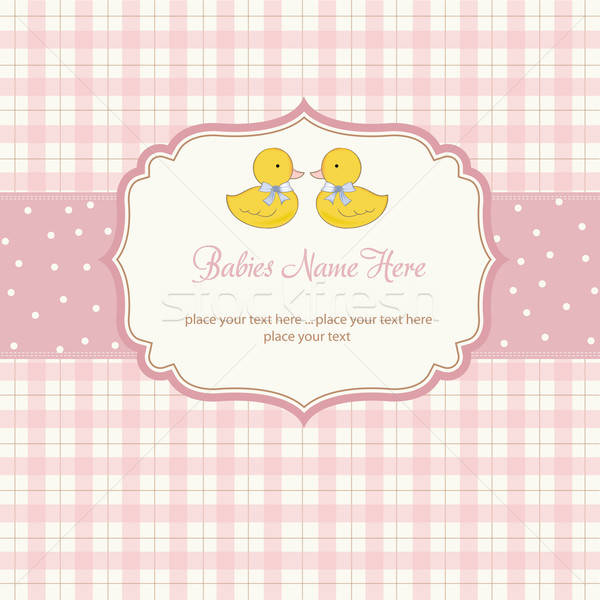 delicate babies twins shower card Stock photo © balasoiu