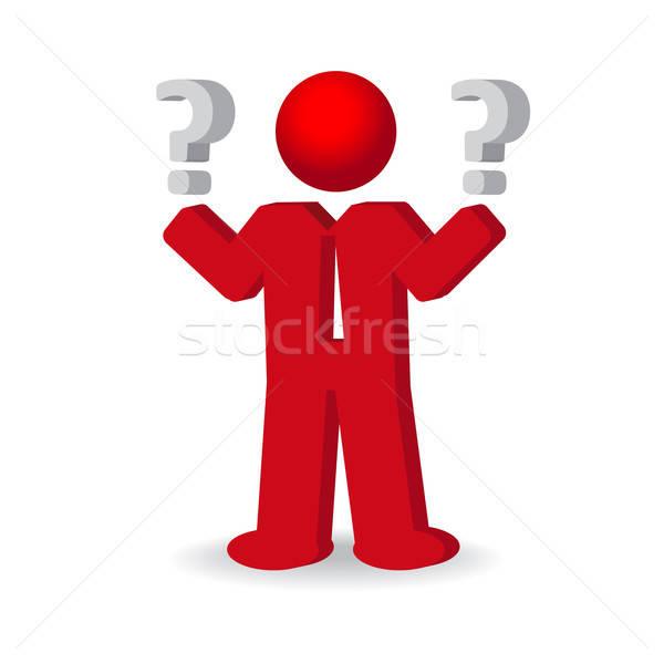 деловой человек человек вопросительный знак бизнеса красный белый Сток-фото © balasoiu