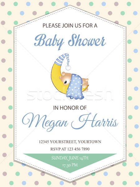 delicate baby boy shower card with little teddy bear Stock photo © balasoiu