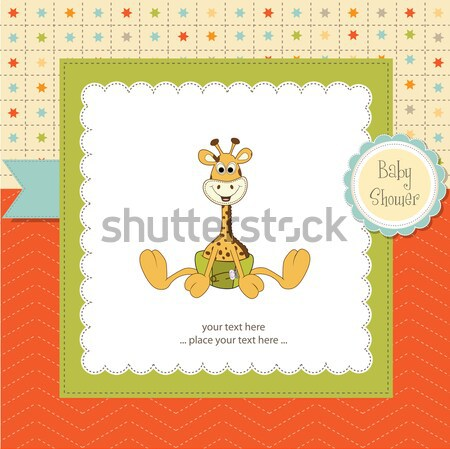 Stock photo: baby shower card with giraffe toy