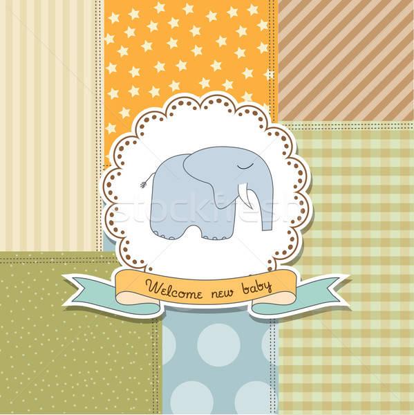 Stock fotó: Baba · fiú · közlemény · kártya · elefánt · új