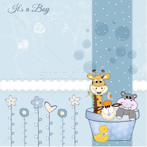 Baby jongen douche kaart gelukkig abstract Stockfoto © balasoiu