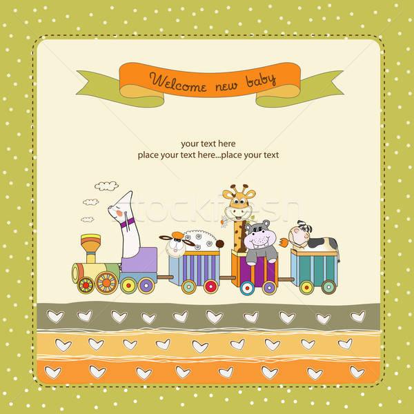 new baby announcement card with animal's train Stock photo © balasoiu